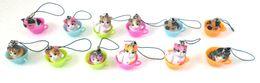 Encantos de dibujos animados del teléfono celular online-Envío gratis 5 sets (12 unids / set) Cartoon Cup Cat Figuras de acción del teléfono celular Strap Charms para mejores regalos