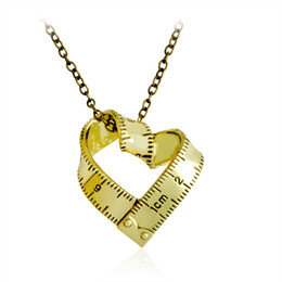 Wholesale Wholesale Scale Rulers - Measure Necklace Twisted Heart shaped ruler Pendant Scale Measuring tape Necklace for Women Men Jewelry Gift For Teacher Student