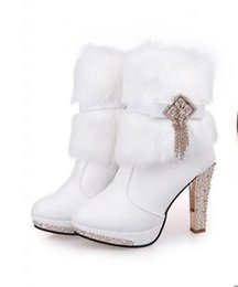 Wholesale Bridal Shoes Boots - Boots PU Women's White Middle Heel Tassels Rabbit Fur Wedding Shoes Bridal High Middle Heel Shoes Ankle Boot