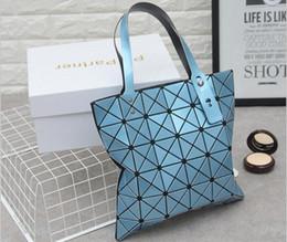 Wholesale Sequin Fold - Famous Brand Ladies Plain Folding Geometric Diamond Lattice Laser Handbags Designer Women Sequins Messenger Totes Shoulder Bags