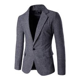 Wholesale Casual Blazer Mens - Wholesale- 2016 Mens Slim Fit Blazer Size M-XXL Fashion Men Blazer Single Button Designs and Suit Jacket Casual Blazer 9282