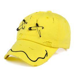 Wholesale Pin Sun - Fashion Men Cotton Hat Safety Pin Holes Baseball Cap Hiphop Women Summer Casual Sun Snapback Curved hats
