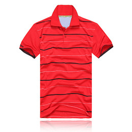 Wholesale black yellow stripe shirt - 2017 NEW Fashion polos stripe Men T-shirts crocodile Short Sleeve Tops Cotton polo sports Short Sleeve Summer Casual Polo shirt Free Shippi