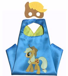 Wholesale Christmas Super Hero Masks - Kids Capes and Masks L70*W70cm Capes Double Layers Little Pony Cape Christmas Halloween Cosplay For Children Gifts