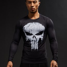 Wholesale Crossfit Clothing - Punisher 3D Printed T-shirts Men Compression Shirts Long Sleeve Cosplay Costume crossfit fitness Clothing Tops Male Black Friday