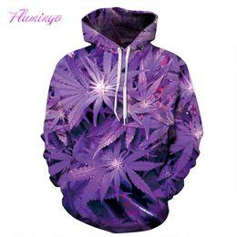 Wholesale Painted Leaf - Men Women Hooded Sweatshirt 3D Purple Leaf Print Hoodie Pullover Paint Hoody Tracksuit Tops Plus Size Casual Streetwear Sports
