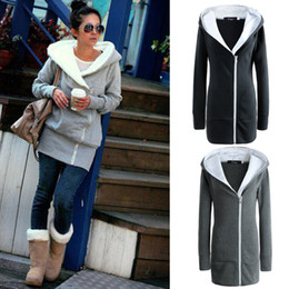 Wholesale coat for woman xs - Wholesale- 2017 New Ladies Collar Hooded Coats for Warm Winter Women Long Jacket with Zips on left side -2021