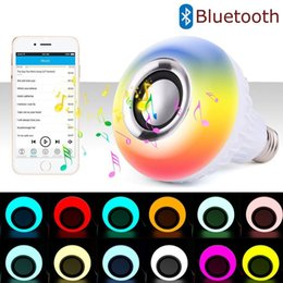 Wholesale Change Speaker - 1pcs E27 12W RGB Music Bulb LED Lamp Wireless Bluetooth Speaker 100-240V Color Changing Music Player Audio Speaker Light with Remote Control