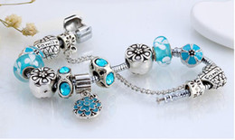 Wholesale glass strands - fashion silver plated Austrian glass beads charms bracelets,elegant charm bracelet charms at factory prices with best prices in four colors