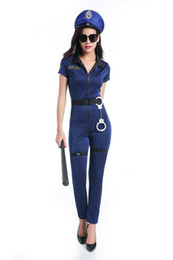 Wholesale Sexy Police S - Blue Sexy Policewomen Dress Police Costume Halloween Women Plus Size Police Officer Costumes For Role Playing Cosplay Outfits