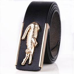 Wholesale New Stylish Girls - 2017luxury brand new men's gold belt cowboy cowhide crocodile smooth buckle designers stylish leather fringe belt waist strap Business