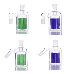 Wholesale Glass D - 8 arms tree ash catcher 90 & 45 degrees for bongs glass water pipe bubbler have blue and green