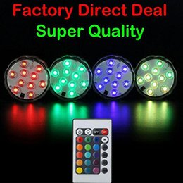 Wholesale Rgb Led Submersible Lights - Umlight1688 2 Style Remote Controlled 10 LED Submersible LED RGB Waterproof LED Light Battery Operated Wedding Party Vase Light