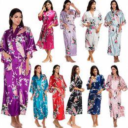 Wholesale Wholesale Bridesmaid Dresses Sleeves - Wedding Gown Printed Lady Pyjamas Silk Dresses Summer Night Robe Colorful Peacock Sleeping Robe Japanese Cardigans