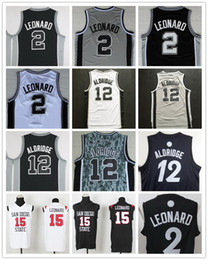 Wholesale Lamarcus Aldridge Jersey - Men's #2 Kawhi Leonard Jersey 12 Lamarcus Aldridge Jersey #15 Kawhi Leonard Cheap Basketball Jersey Black White Gray Stitched
