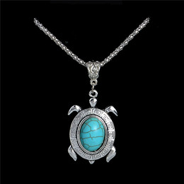 Wholesale Turquoise Necklace For Wedding - Fashion Jewelry Silver Pendant Turquoise Necklaces collier Tortoise Turtle collana Necklace for Gifts Sweater Necklace