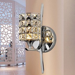 Wholesale Chrome Crystal Wall Lights - Bedroom Crystal Wall light Free Shipping Modern Polished Chrome Base Living Study Dining Room Wall Lamp Pub Club Glaring Fixtures
