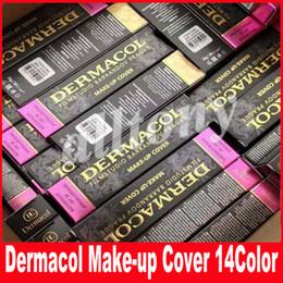 Wholesale Wholesale Black Make Up - Dermacol Base Make Up Cover Primer Concealer Professional Face Foundation Contour Palette 30g 14 Colors Free Shipping