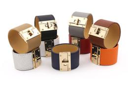 Wholesale Wide Gold Bracelets For Women - Luxury Metal Charm H Bracelet Wide Leather PU Bracelets Bangles for women men Punk Femme Pulseira Feminina Masculina Jewelry