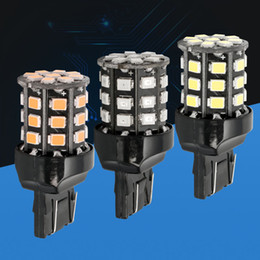 Wholesale Car Daytime Bulbs - Wholesale- W21 5W 7443 T20 Double string 33 SMD 2835 LED auto parking lights rear bulbs car daytime running light red white yellow orange
