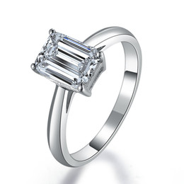 Wholesale Emerald Cut Diamond White Gold - Lucky Style 1CT Emerald Cut Synthetic Diamond Engagement Ring Solid Sterling Silver 18K White Gold Cover Fine Wedding Jewelry