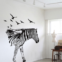 Wholesale Large Zebra Wall Stickers - Free Shipping New Personalized Zebra Wedding Decoration Room Wall Stickers Living Room Bedroom Hallway Entrance Home Sticker