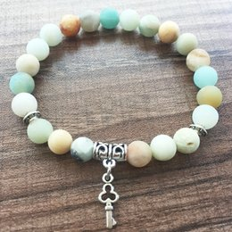 Wholesale Natural Amazonite - Mala Beads Bracelets Natural Stone Round Bead Bracelet 8MM Matte Amazonite Bracelet love Key pendant Yoga Prayer Bracelets