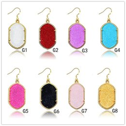 Wholesale Gold Filled Earring Charms - Silver & Gold Hexagon Druzy Stone Earrings Glittery Acrylic Drusy Geometry Chandelier Earring Various Colors Silver Tonal