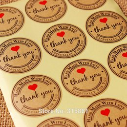 Wholesale Wholesale Material Love Hearts - Wholesale-Round heart Kraft Seal Sticker, 'Handmade with Love' Sticker, Kraft Paper Material
