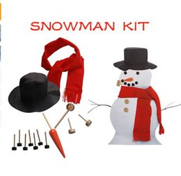 Wholesale Hat Scarf Button - Wooden Simulation Dress Up Snowman Kit Christmas Decor Accessories Set Kit Snowman Eyes Nose Mouth Pipe Buttons Scarf Hat KKA3034