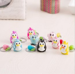 Wholesale Penguin Keychains - Best gift Cute animal penguin chicken keychain metal key ring bag car ornaments creative gifts KR112 Keychains mix order 20 pieces a lot