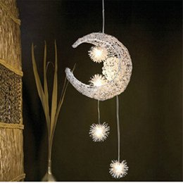 Wholesale moon pendant lamp - Bedroom Moon Stars Pendant Lamps Modern Pendant Ceiling Light Lighting Lamp Chandelier Ceiling Light + 5pcs G4 Bulb Lights Warm White Bulb