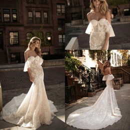Wholesale Detailed Sweetheart Mermaid Wedding Dress - Berta Vintage Mermaid Wedding Dresses 2017 Off the Shoulder Full Lace Wedding Gowns Chapel Train Corset Back Bridal Dress
