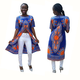 Wholesale Vintage Fashion Clothing Ladies - Womens Long sleeved Outfit Ethnic Clothing African Totem Print Dress Vintage Ladies Totem Print Long T-shirt