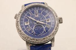 Wholesale Moon Sapphire - 2017 Luxury Brand blue Dezel blue Belt Mens Stainless Pointer Watch Men's Sports Wristwatch Sapphire men quartz male watch sky moon tou