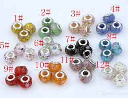 Wholesale Large Pink Beads - Hot ! 100Pcs 17 style Lampwork lampwork Glass Large Hole Beads Sparkly White   Pink & Green DIY Jewelry