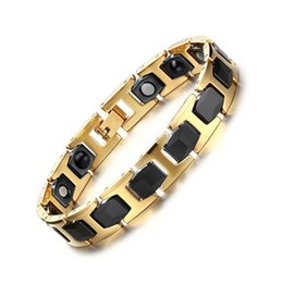 Wholesale gold bracelets for health - Fashion Healthy Magnetic Bracelets & Bangles Stainless Steel Jewelry For Men And Women Wholesale Health Bracelet Chain Plated Gold B878S