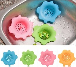 Wholesale Kitchen Sink Drain Stopper - 100% Silicone Kitchen Wash Sink Strainer Filter Cover Round Flower Design Anti-sliding Stopper Bathroom Gully Drain With Easy Handle LLFA