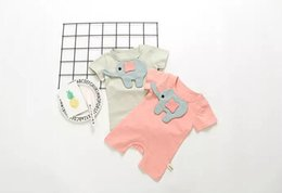 Wholesale Elephant Romper - INS new arrivals baby kids climbing romper short sleeve elephant print round collar romper girl boy kids romper kids rompers 0-2T 2 colors