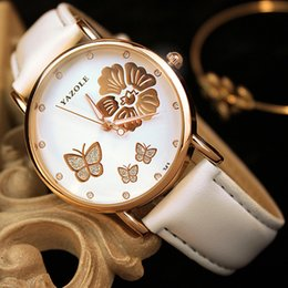 Wholesale Butterfly Shocks - 2017 New Fashion elegant Butterfly watches Women Flower Watch white Leather Quartz-Watch Ladies Girl gift gorgeous montres femme