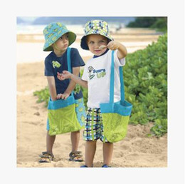 Wholesale Cheap Kid Play - Wholesale Kids Beach Toys Storage Bags Shoulder Bag Sand Away Beach Bag Children Seaside Playing Toys Mesh Bags Cheap 2 Color Free Shipping