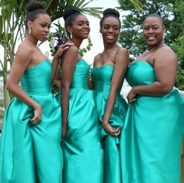 Wholesale Cheap Bridesmaids Aqua Dresses - Sexy Aqua Bridesmaid Dresses Plus Size High Low With Pocket Satin Maid of Honor Dress Prom Gowns Party Dresses Cheap