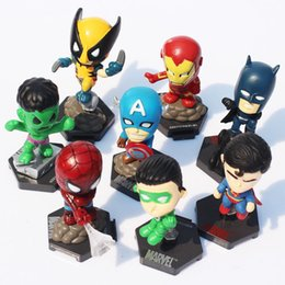 Wholesale Marvel Avengers Action Figures - Marvel The Avengers Superheroes Toy Figure Captain American Hulk X-men Spiderman PVC Action Figure Toys 8pcs set Free Shipping