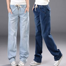 Wholesale High Waisted Womens - Wholesale- Casual Brand Harem Jeans Woman Loose Elastic Waist Plus Size Harem Pants Womens Vintage High Waisted Jeans