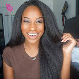Wholesale Italian Hairstyles - 7A Brazilian Virgin Italian Yaki Lace Front Wig Human Hair Kinky Straight Glueless Full Lace Wigs with Baby Hair for Black Women