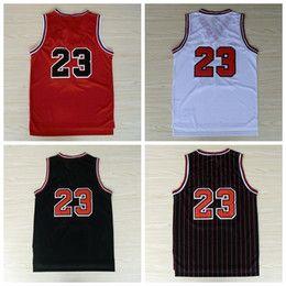 Wholesale Name Shirts - #23 Basketball Jerseys Cheap Throwback Basket ball Shirt Wear Camiseta de baloncesto With Player Name Team Logo Sport Black Red Blue White