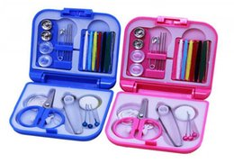 Wholesale Art Scissors - Portable Travel Sewing Kits Box Needle Threads Scissor Thimble Home Tools