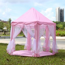Wholesale Kids Activity House - Wholesale-Portable Princess Castle Play Tent Children Activity Fairy House kids Funny Indoor Outdoor Playhouse Beach Tent Baby playing Toy