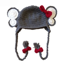 Wholesale Elephant Crochet Hats - Novelty Elephant Hat,Handmade Knit Crochet Baby Girl Gray Animal Hat with Red Bow,Toddler Earflap Winter Cap,Infant Photo Prop