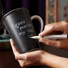 Wholesale Ceramic Bone China Mugs - Wholesale- 1pc ceramic leaving message mug with pen classic blackboard mug with pen chalkboard mug and pens